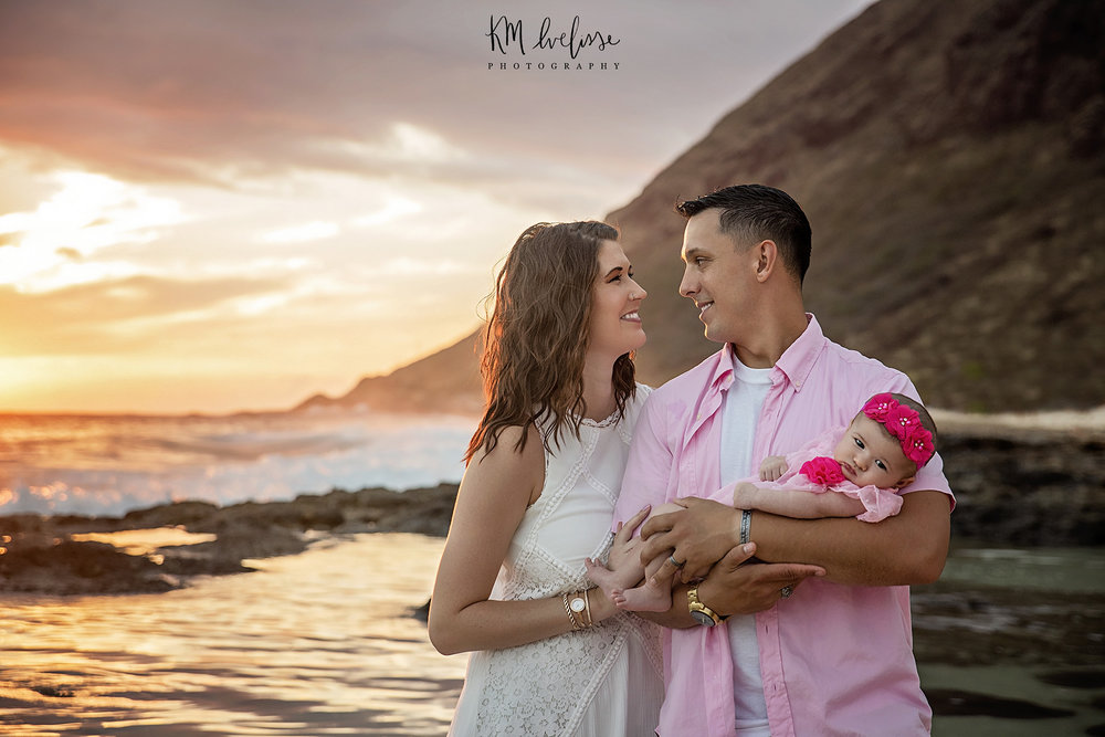 Magical family sunset photography session on the west side of Oahu Hawaii in Waianae. This was located on Yokohama Bay beach park near Kaena Point