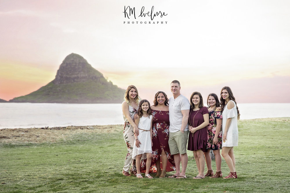 Location was on the east side of Oahu Hawaii near chinamans hat also known as mokolii island Family session here are marvelous