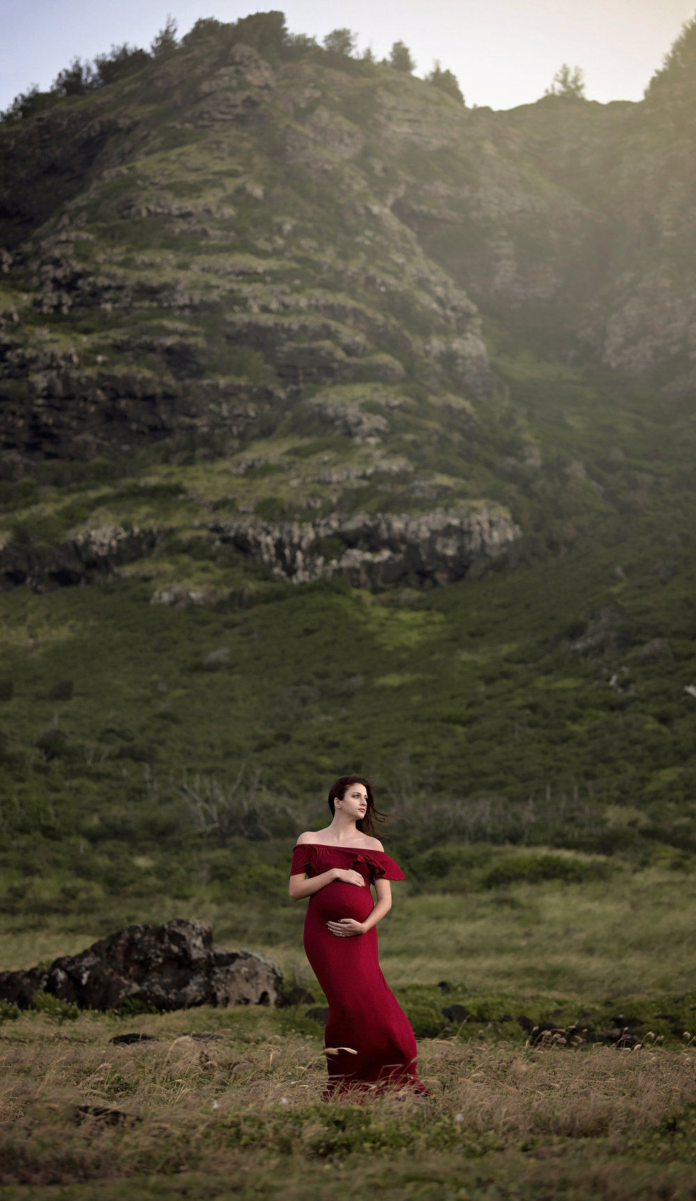 Location was at Kaena point beach. Dramatic mountains in the background are the perfect backdrop for your maternity sessions here on oahu hawaii