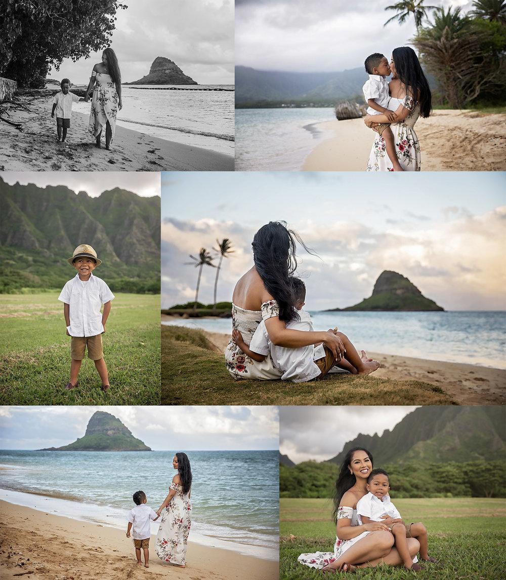 Mommy and me session at Kualoa Beach Park on Oahu Hawai'i