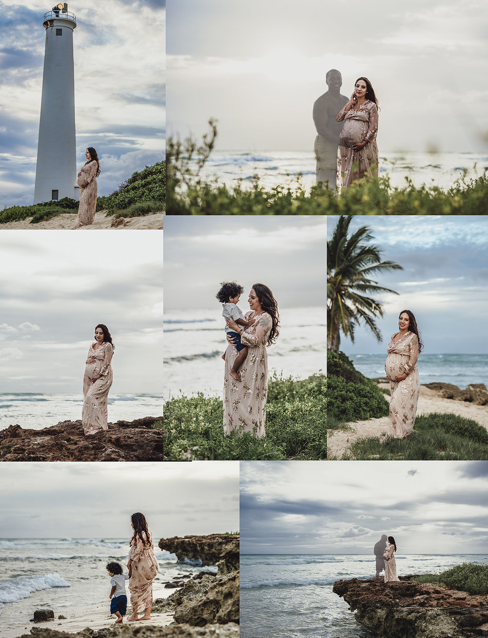 Grieving widow honors husband in maternity session at barbers point beach also known as kalaeloa Beach on Oahu Hawaii