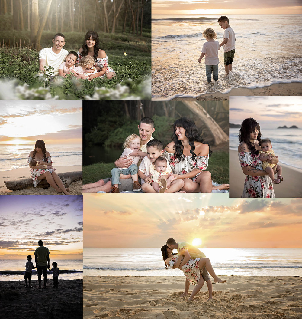 Family session on Bellows Beach park in Waimanalo Oahu Hawaii