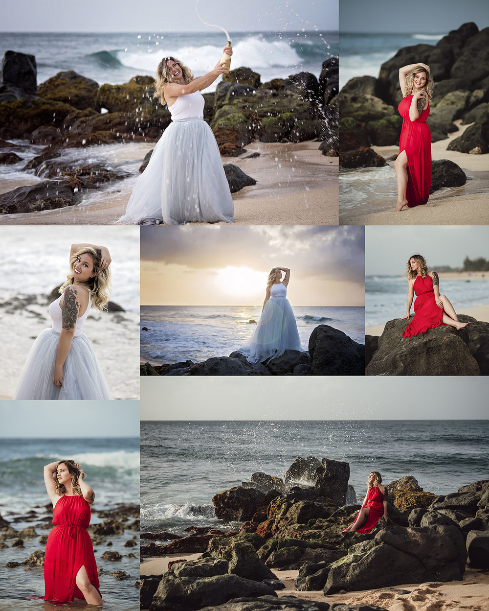 Dirty Thirty portrait session in Black Rock Beach in North Shore on Oahu Hawaii