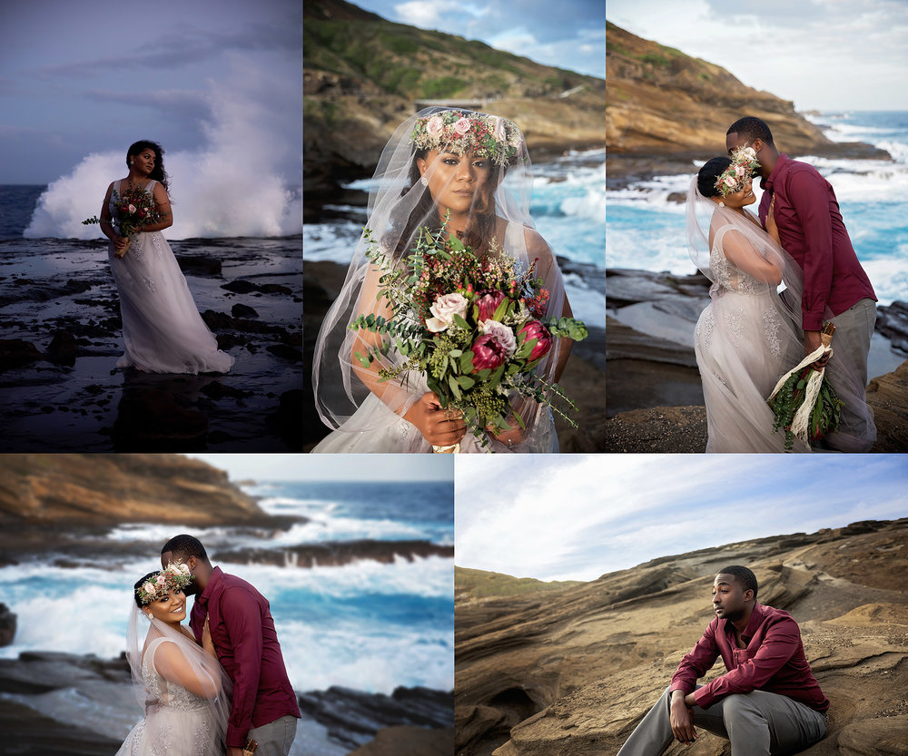 anniversary photoshoot at lanai lookout in oahu hawaii