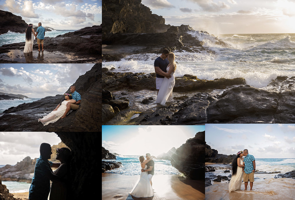 couples session at blowhole beach on oahu hawaii