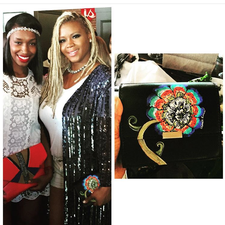 Claire Sulmers    The founder and editor-in-chief of the #1 Urban fashion blog is seen wearing her very own custom hand-painted Floral Clutch at her Style Workshop in NYC,