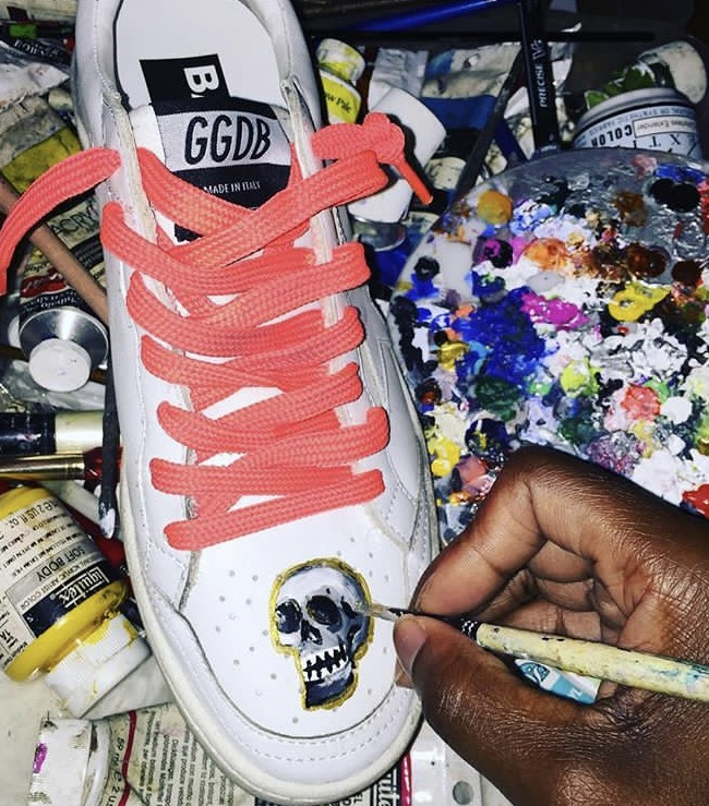 ReRe Corcorran   NYC Jewelry Designer, Rere Corcoran, is a fan of customizing her wardrobe with Chermia Amour Designs, such as her favorite Golden Goose Sneakers hand-painted with Gold Skulls.