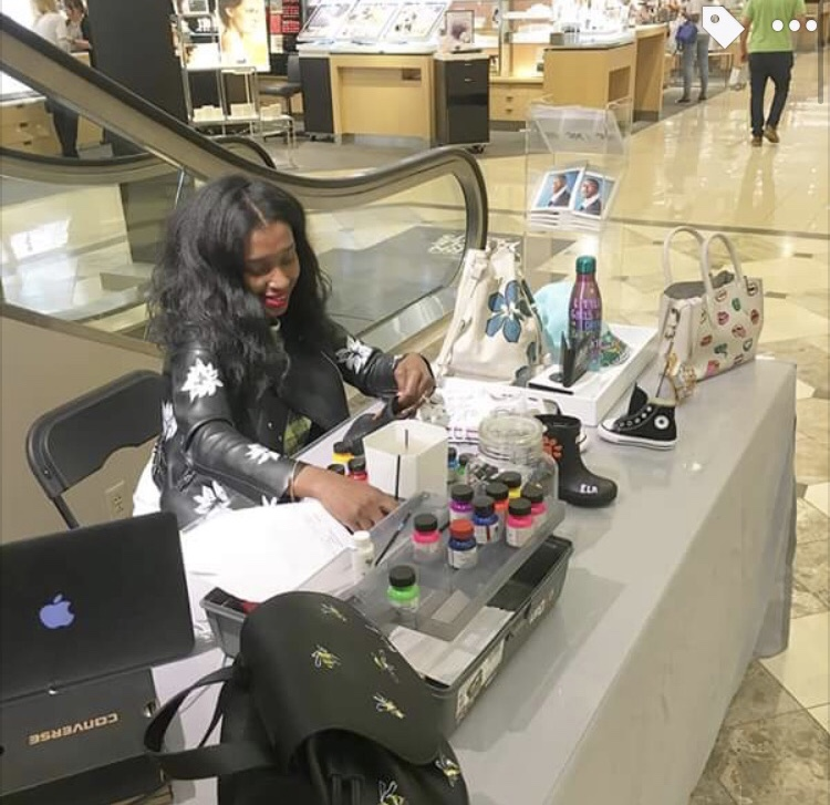 Customization - Hand-painting Shoe Designs on the spot for Nordstrom customers located at the Short Hills Mall.