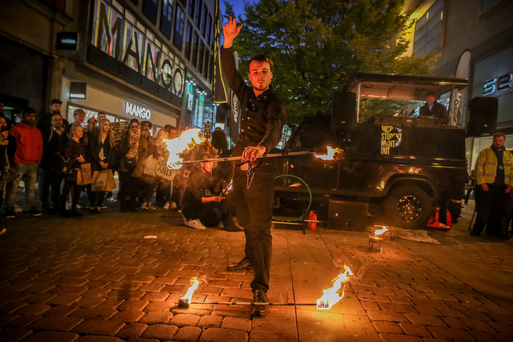 Street Theatre and Walkabout Circus Performers: Fire Staff