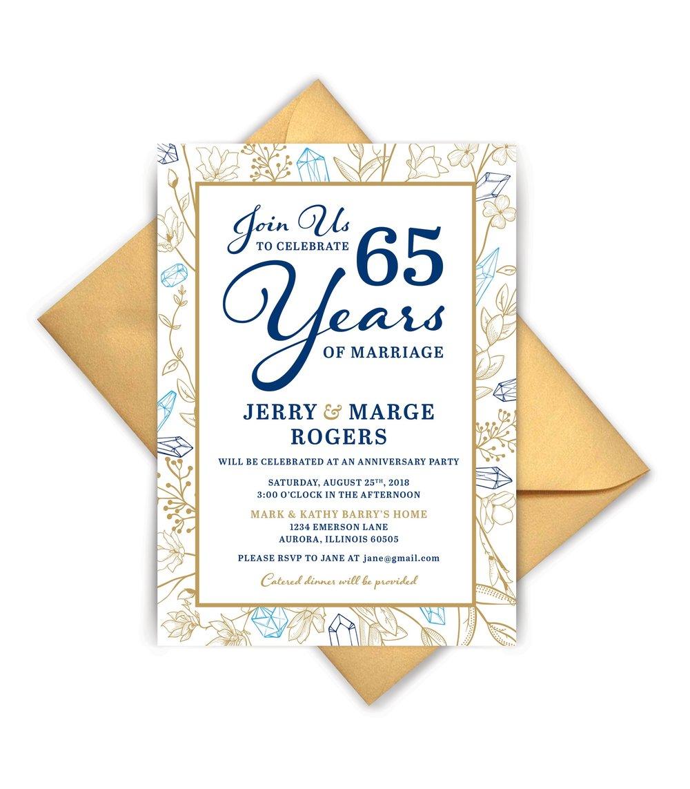 Christina K Fulsang 65th Invitation To Attend A Wedding Anniversary