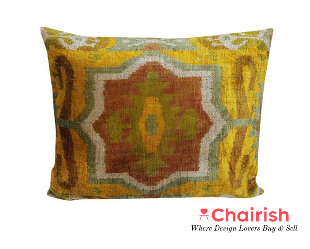 Vintage Silk Velvet Ikat Pillow $148