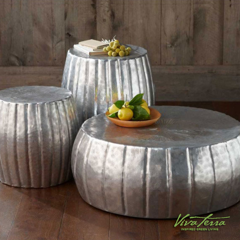 Silver Hammered Drum Tables Collection (See Website For Price)