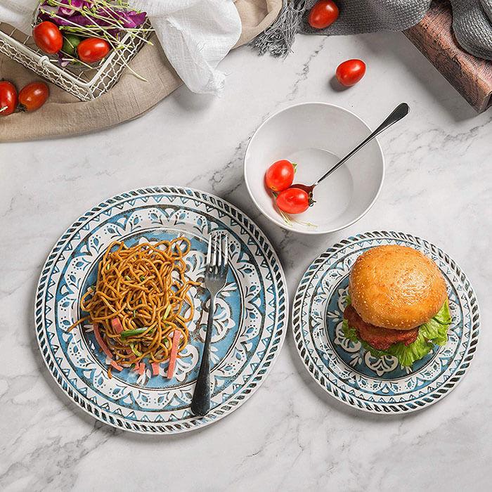 Hware 12 Pcs Melamine Break-Resistant Indoor Outdoor Dinnerware Set