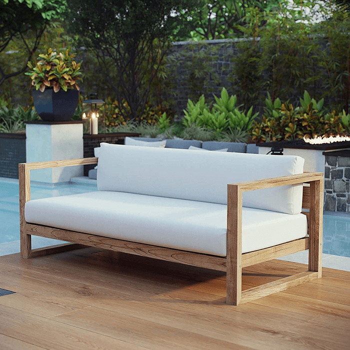 Modway Upland Outdoor Patio Teak Sofa