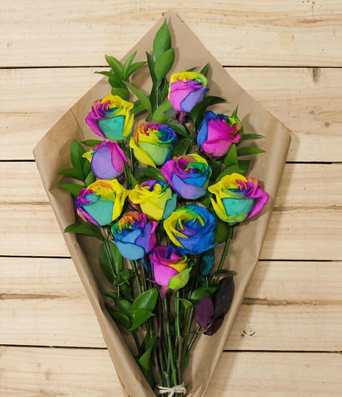 Avas Flowers Rainbow Roses
