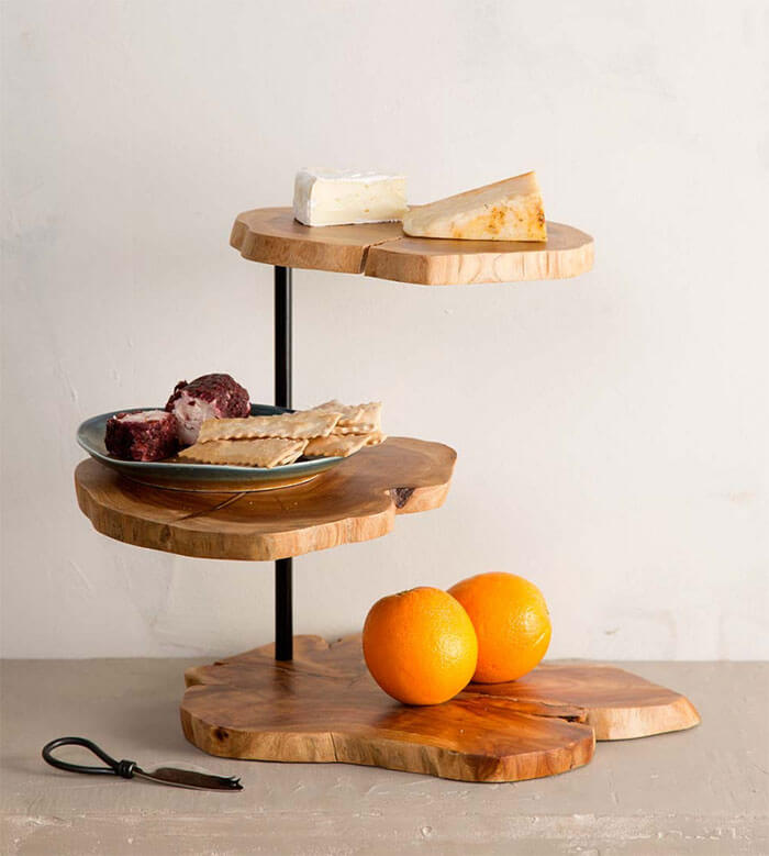 Viva Terra Wood Slice 3-Tiered Server