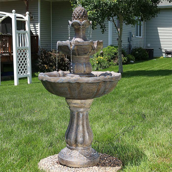 Serenity Health Sunnydaze 2-Tier Pineapple Water Fountain