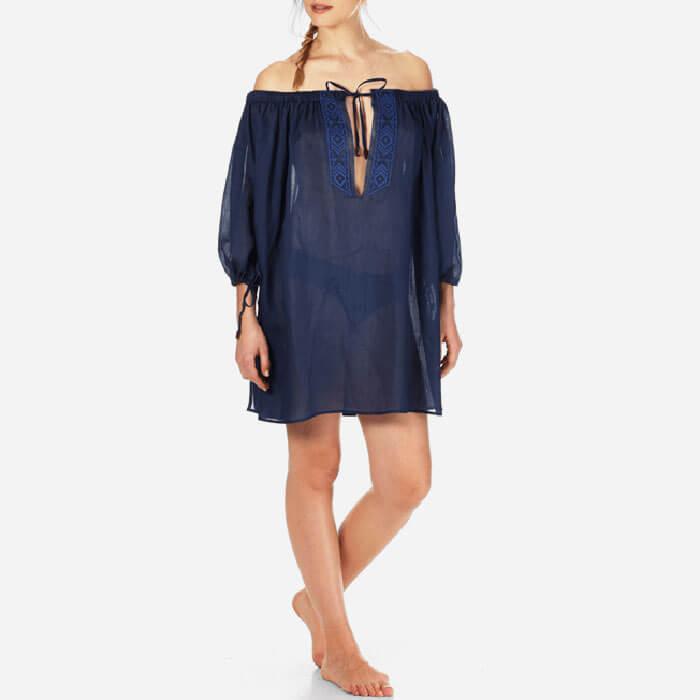 Vilebrequin Off Shoulder Linen Voile Dress