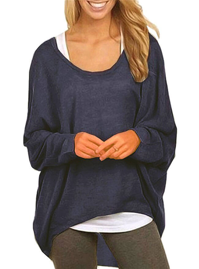 UGET Women's Oversized Baggy Off-Shoulder Batwing Sweater