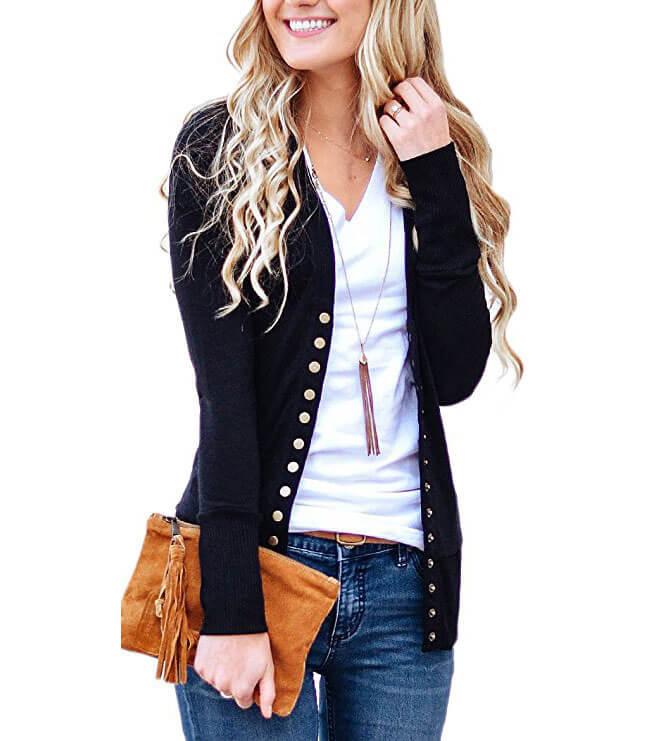 NENONA V-Neck Button Down Cardigan Sweater