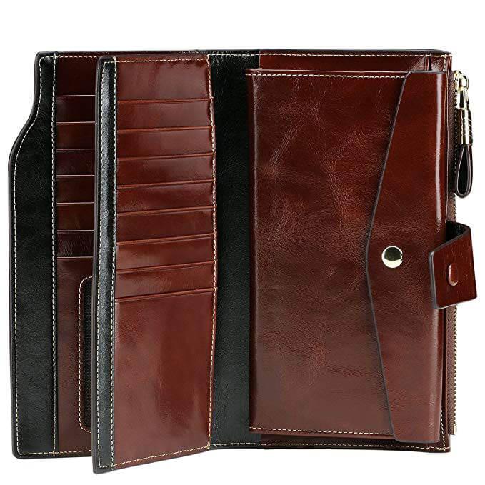 Itslife Women's RFID Leather Clutch Wallet Card Holder