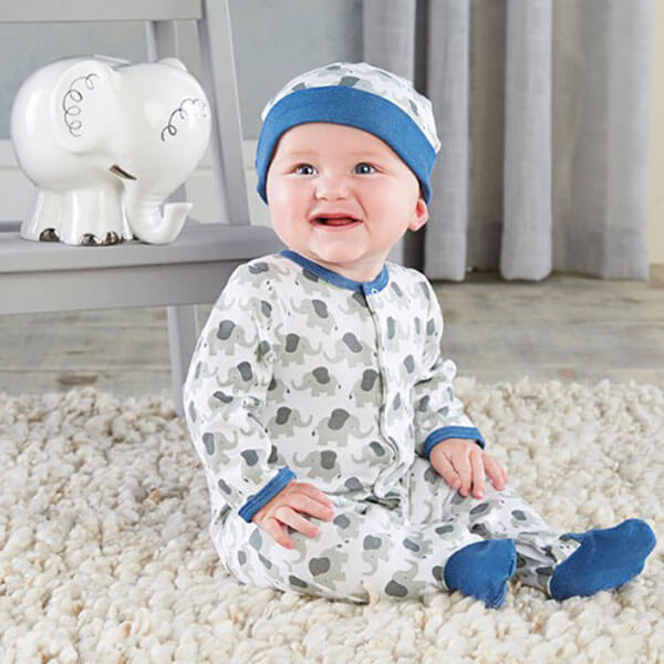 Beau-Coup Blue Little Peanut Elephant Pajama Set
