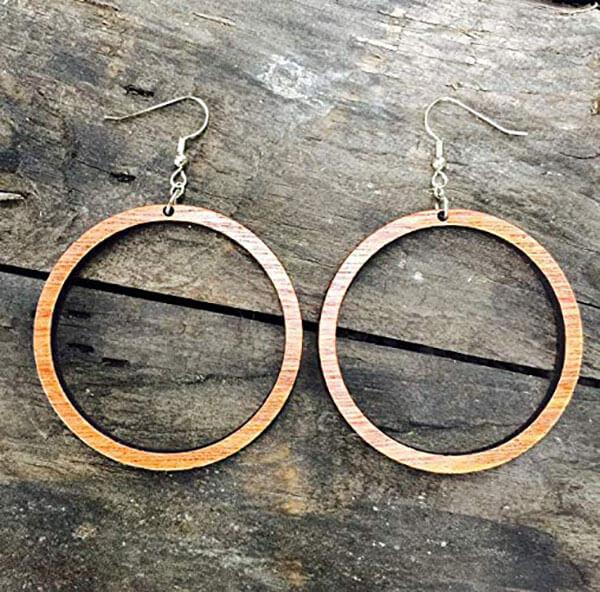 John Leslie Studios Natural Reclaimed Mahogany Wood Hoop Earrings