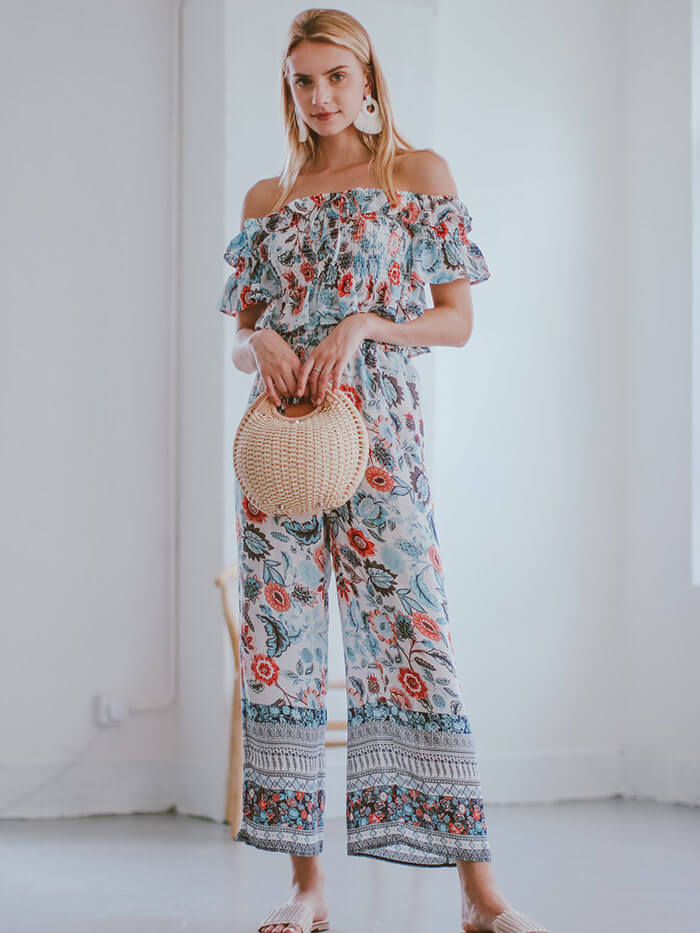 Goodnight Macaroon Lan Floral Ruched Top and Pants