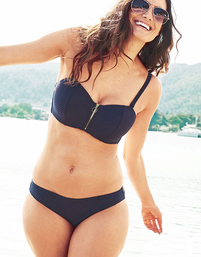 Figleaves Icon Texture Underwired Bandeau Bikini Top