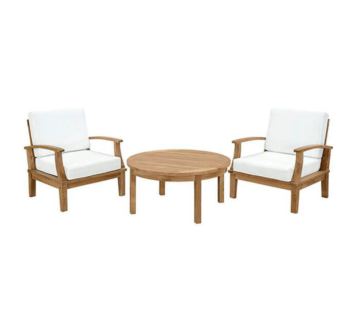 Casa Gear Marina 3 Piece Outdoor Patio Teak Sofa Set