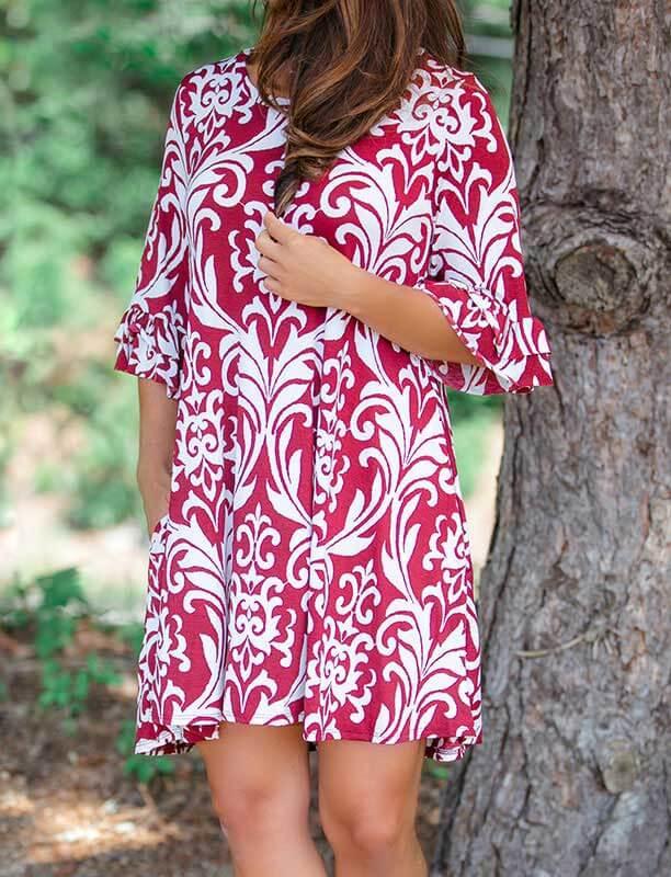 PatPat Printed Half Sleeve Dress