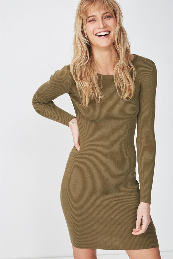 Cotton On Sally Long Sleeve Midi Dress