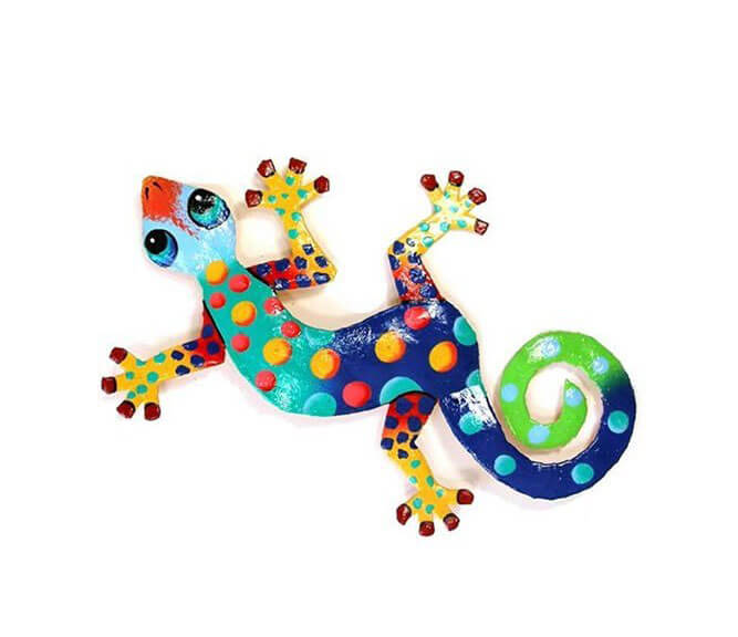 Blue Sky Collection Recycled Metal Gecko Wall Art