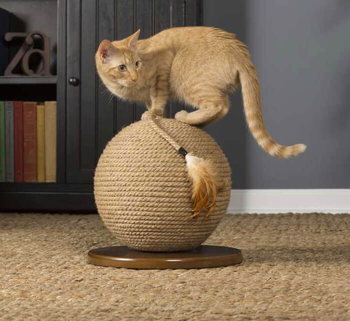 Cats Play Cat Power Scratching Sphere with Tassel Toy