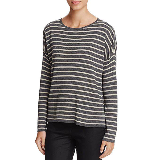 Eileen Fisher Striped Boxy Pullover Sweater