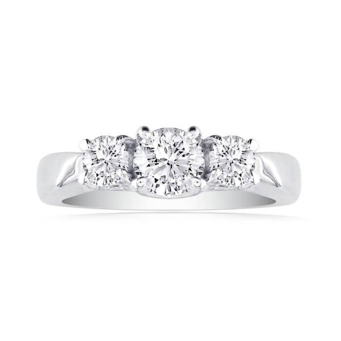 Super Jeweler 2.25CT Three Diamond Ring in 14K White Gold