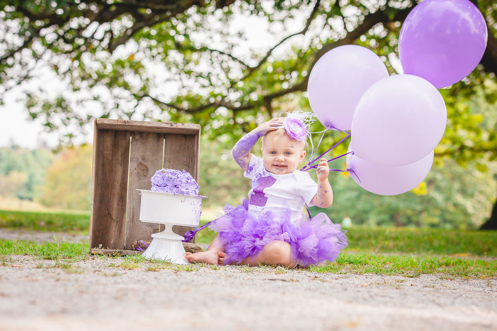 Purple Cake Smash- Kennedy- Family & Wedding Photography Barrie- Amy D Photography- Outdoor Vintage Cake Smash- Purple Tutu Cake Smash- Purple Cake- 1st Birthday Photo Shoot- Cake Smash Ideas- Outdoor Session Ideas