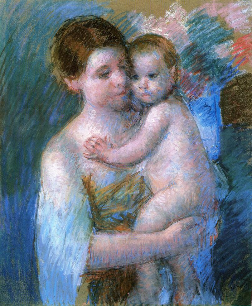 Mary Cassatt Mother Holding Her Nude Baby Whose Left Hand Rests on the Mother's Chest, 1914. Pastel on Paper, 76.2 x 64.77 cm