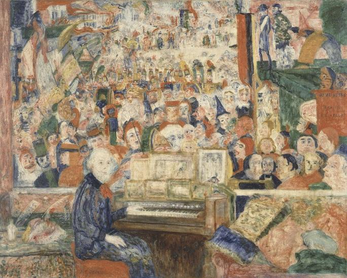 James Ensor, Ensor in his studio (Ensor at the harmonium), 1933. Oil on canvas, 80 x 100 cm