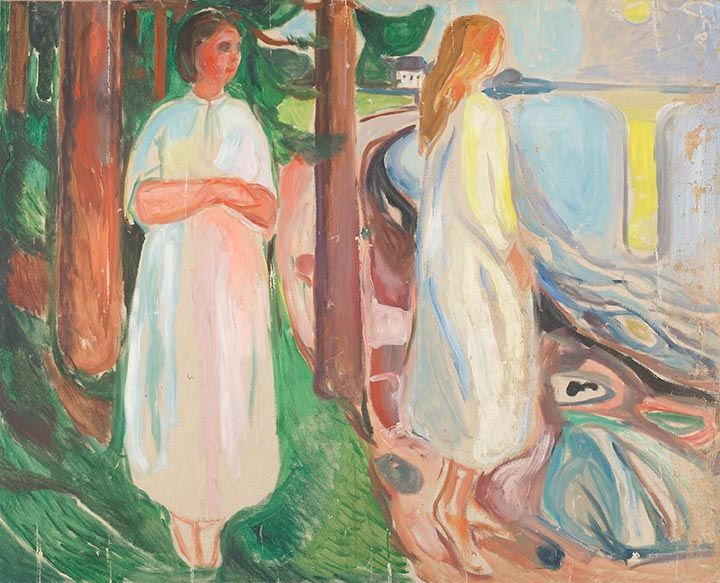 TWO WOMEN IN WHITE ON THE BEACH  Oil on Canvas, 1925 Prediction Score for Religion: 0.9988283 Prediction Score for Painting: 0.9986956 Art: 0.9969698 Saint: 0.9967551 Holy 0.99258006 God: 0.99031764