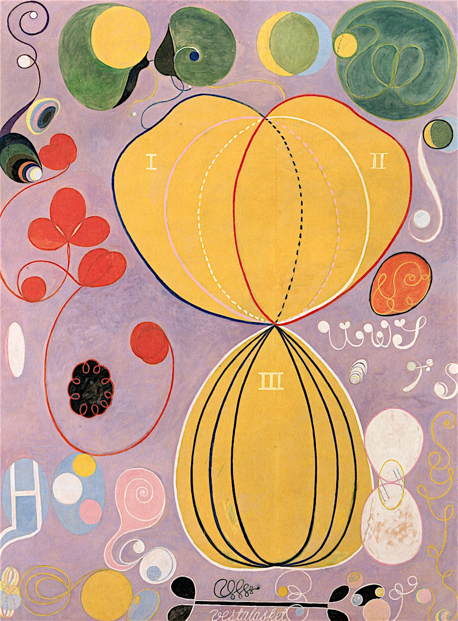 Hilma af Klint The Ten Largest, No. 07, Adulthood, Group IV,  1907 315 X 235 cm Tempera on paper on canvas