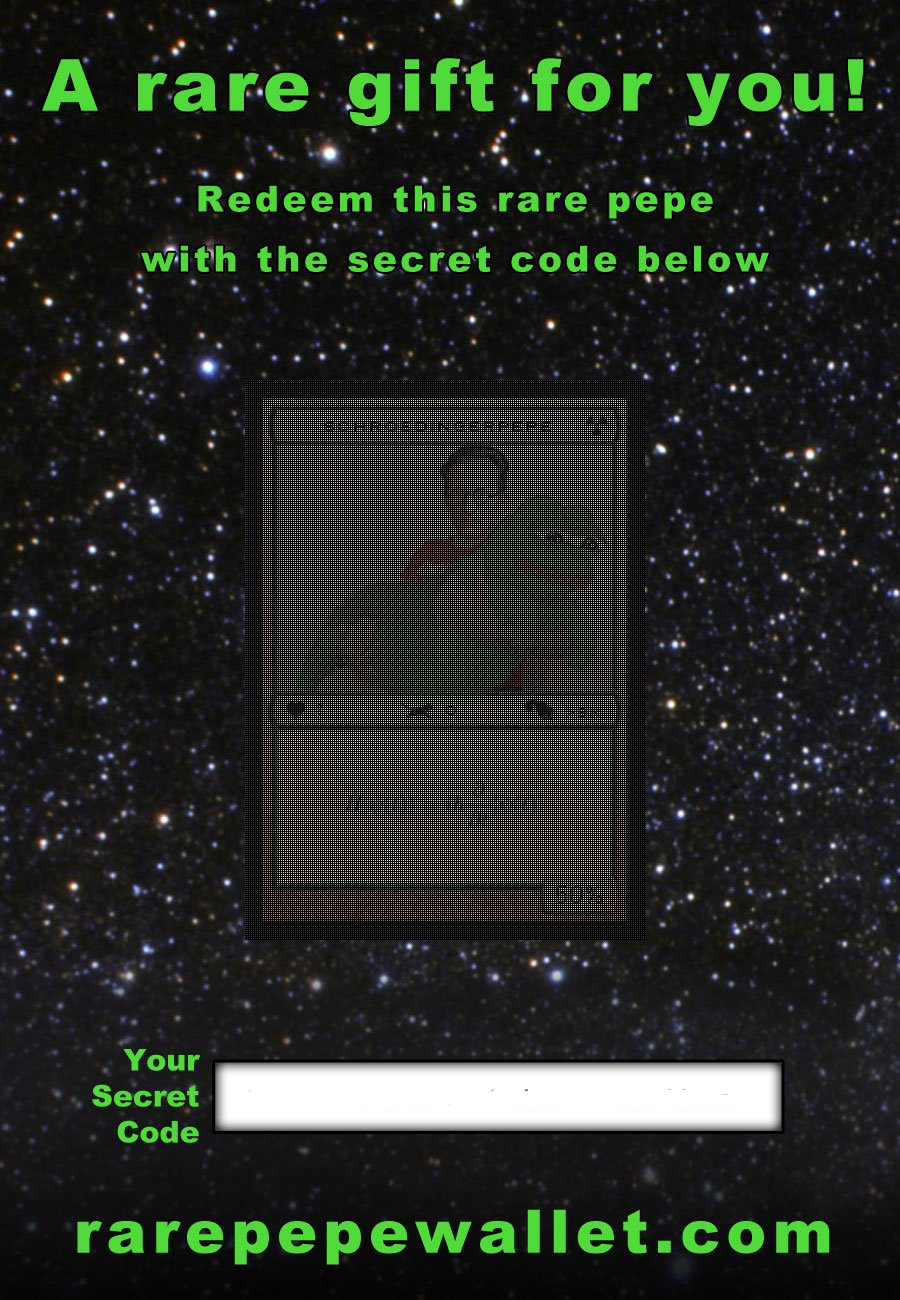 Rare Pepe Gift Card Sent to me by Joe Looney containing SCHROEPEPE.