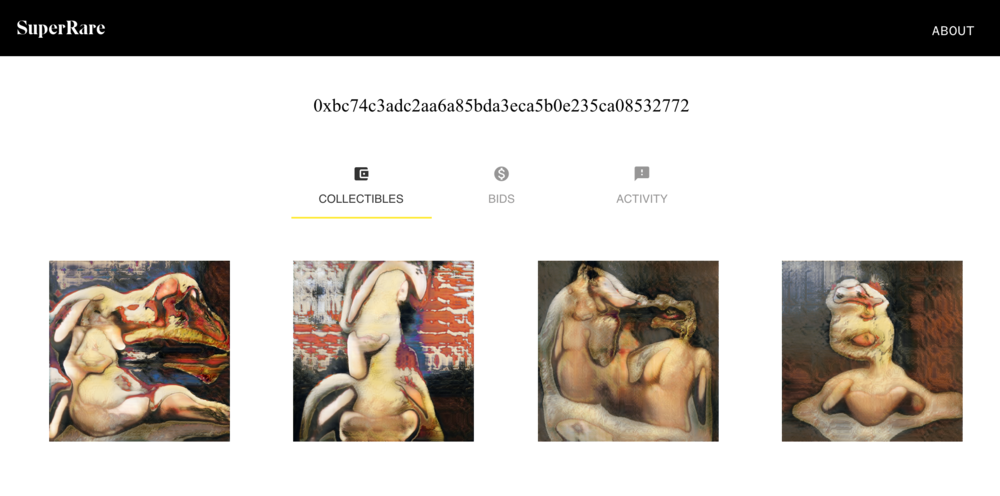 My Robbie Barrat Nudes collection in the SuperRare UI