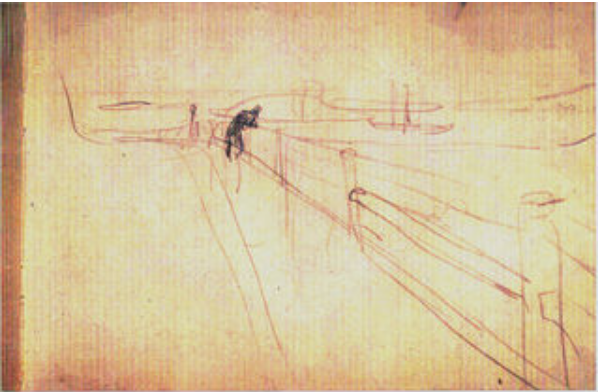 Edvard Munch Study c.1891-2. , pencil on paper.