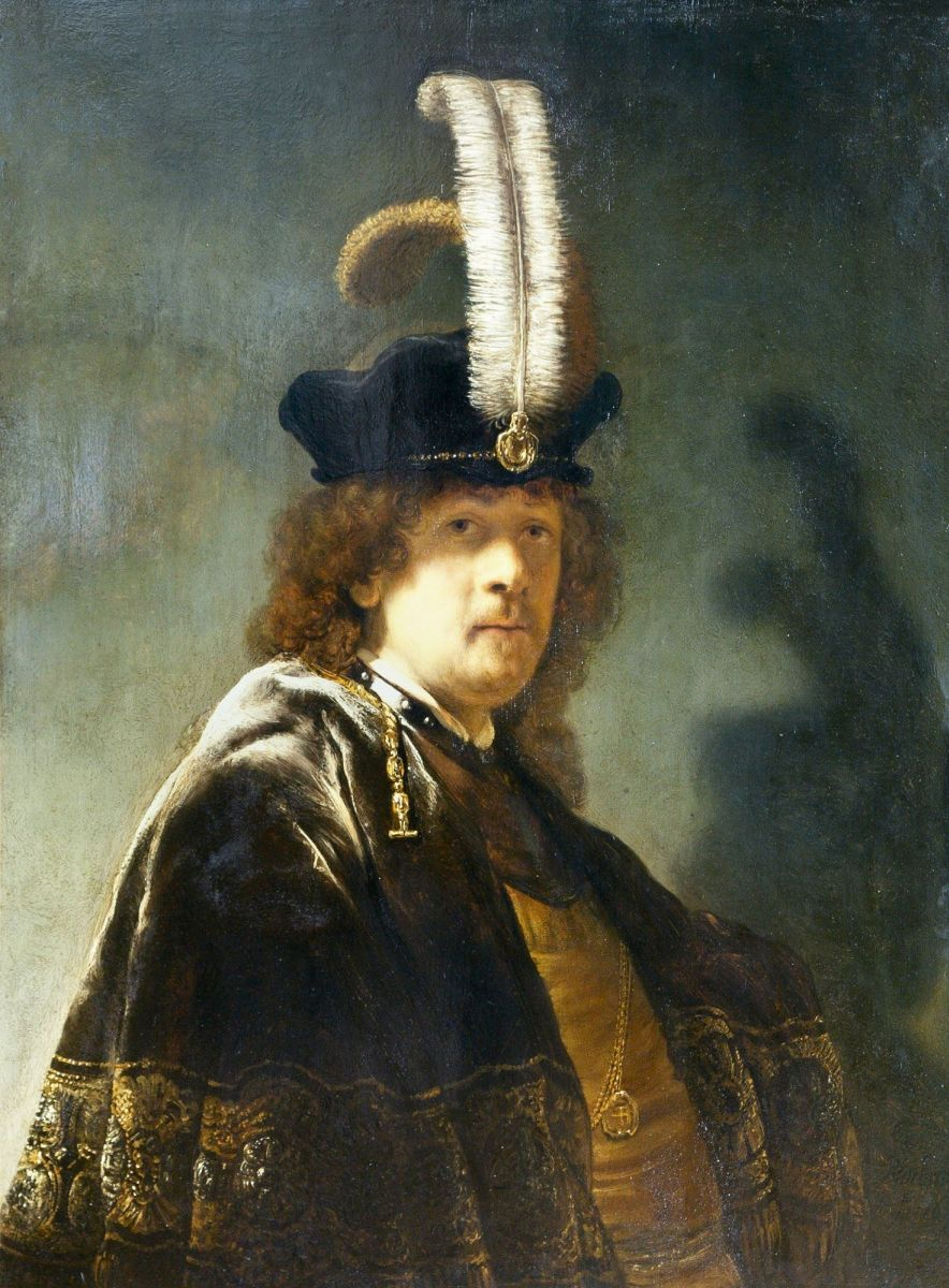 Self-portrait in a hat with white feathers,      Rembrandt, 1635