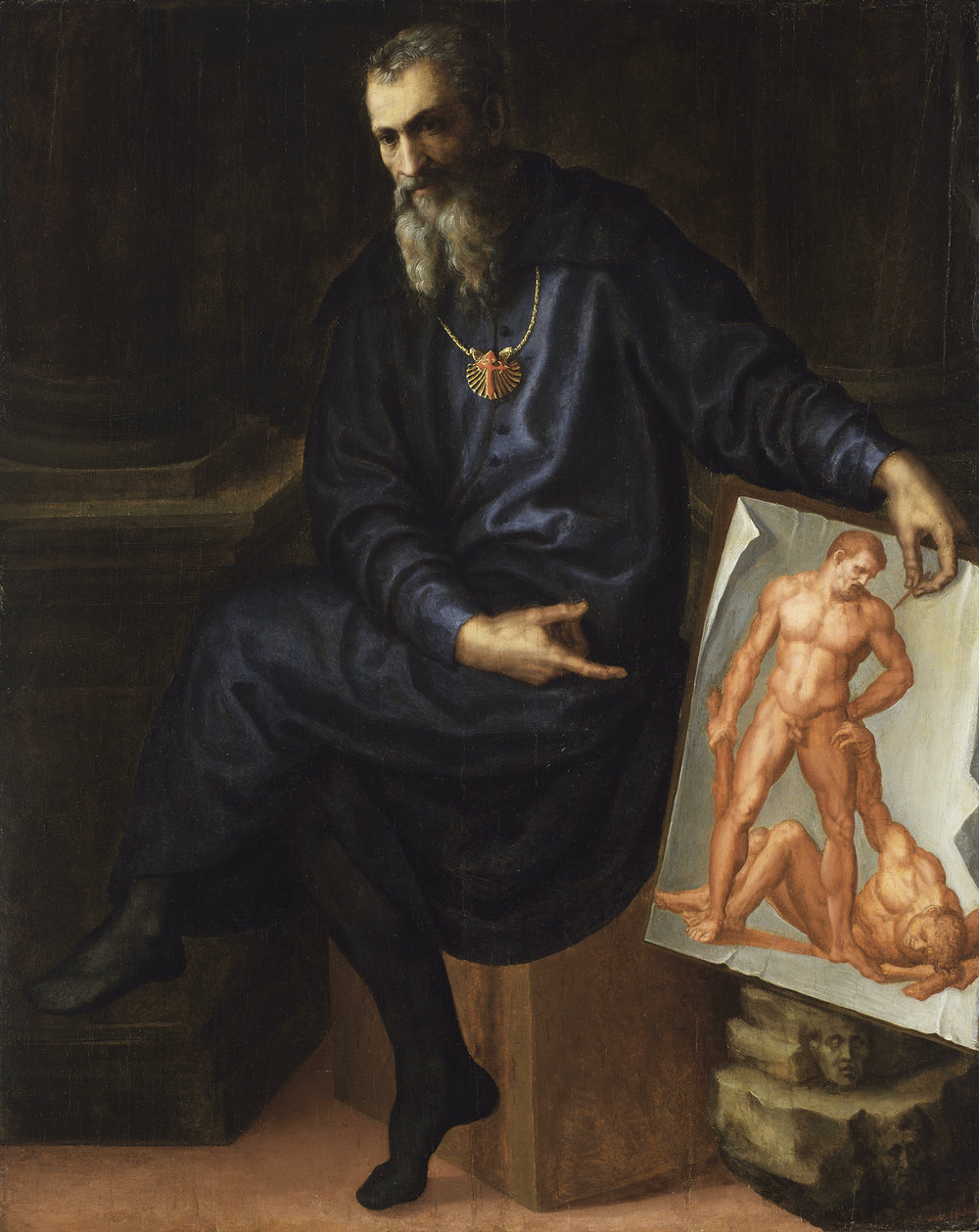 Self-Portrait , Baccio Bandinelli, 1530 (wearing a gold chain with a pendant bearing the symbol of the chivalric Order of St. James)