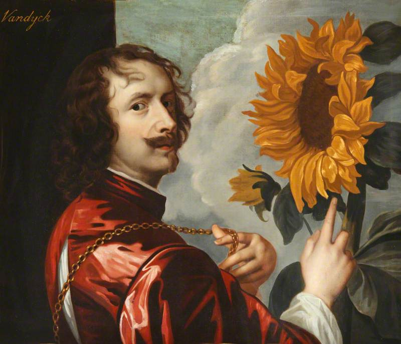 Self-Portrait with a Sunflower,  Anthony van Dyck, 1663 (note the flexing of the bling he received from his patron, the English monarch Charles I)
