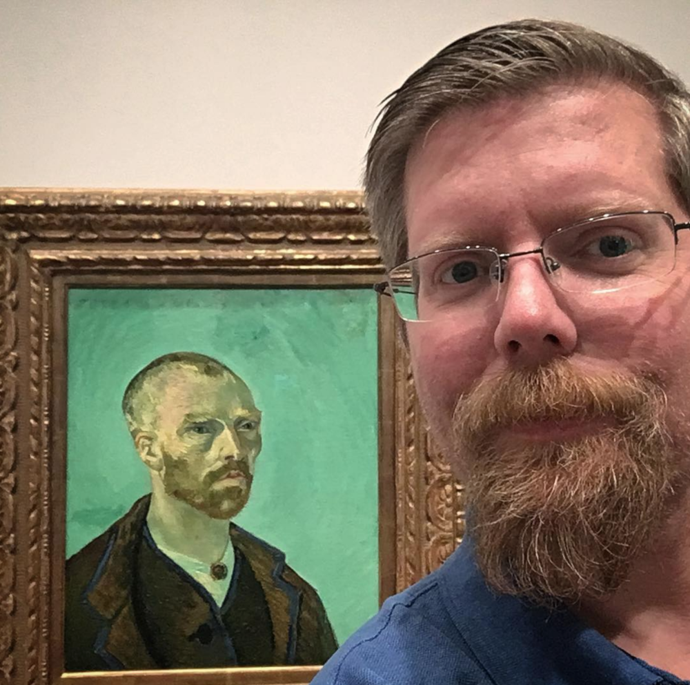Selfie with Van Gogh's 1888  Self-Portrait Dedicated to Paul Gauguin  (on a research visit to Harvard Art Museum)