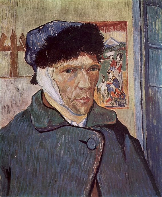 Self-Portrait with Bandaged Ear,  Vincent van Gogh, Arles, 1889