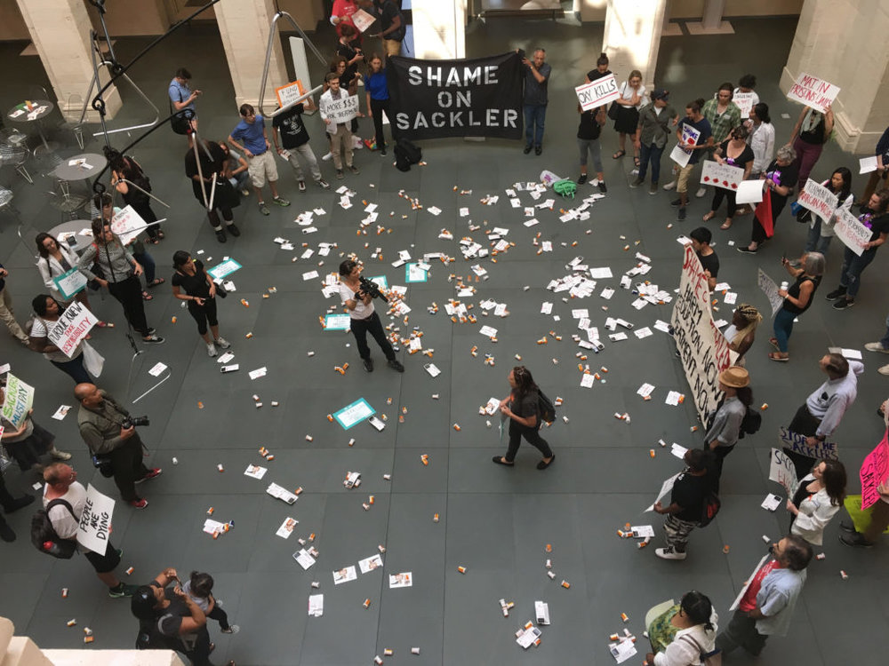Nan Goldin and P.A.I.N. (Prescription Addiction Intervention Now) protesting the Sackler involvement with the Harvard Art Museums